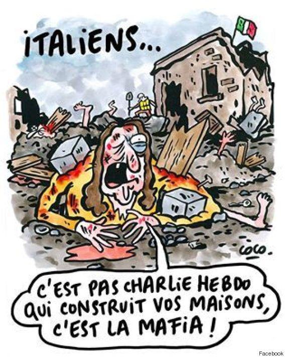 """La vignetta recita """"Italiani, non è Charlie Hebdo che costruisce le vostre case, ma è a mafia!"""""""