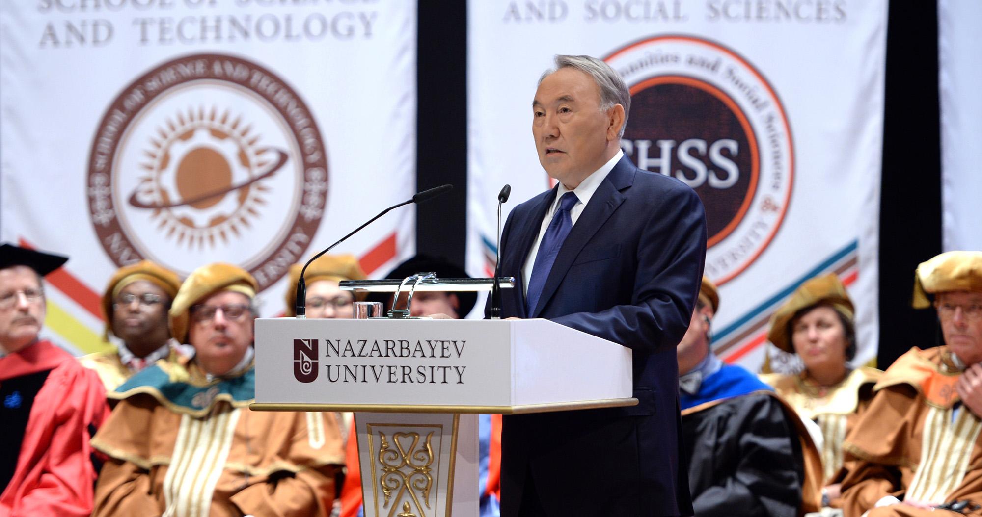 Il presidente kazako Nursultan Nazarbayev alla Nazarbayev Unviersity. Fonte: The Astana Times -