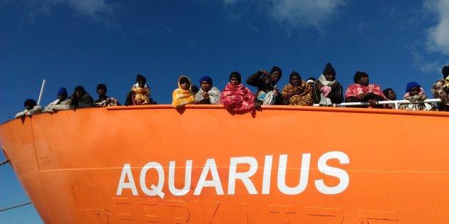 La nave Acquarius in una foto d'archivio. @ ANSA